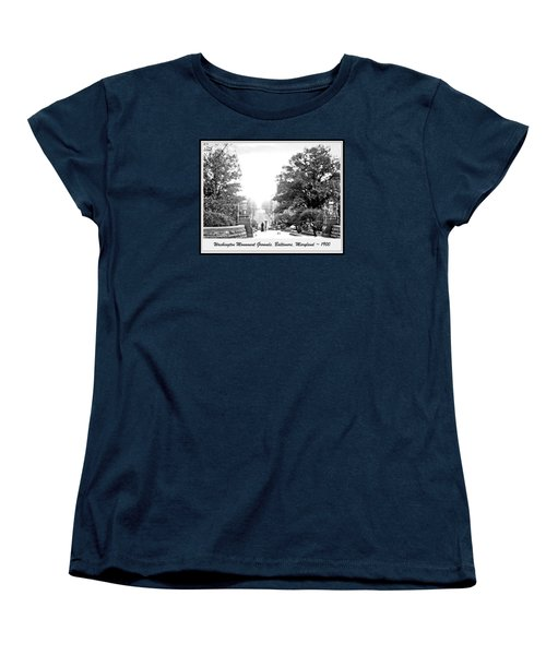 Women's T-Shirt (Standard Cut) featuring the photograph Washington Monument Grounds Baltimore 1900 Vintage Photograph by A Gurmankin