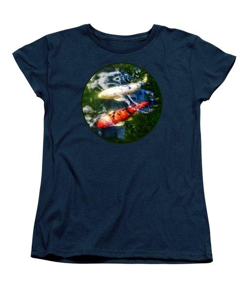 White And Orange Koi Women's T-Shirt (Standard Cut) by Susan Savad