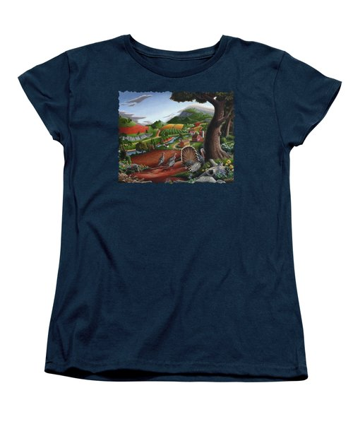 Wild Turkeys Appalachian Thanksgiving Landscape - Childhood Memories - Country Life - Americana Women's T-Shirt (Standard Cut) by Walt Curlee