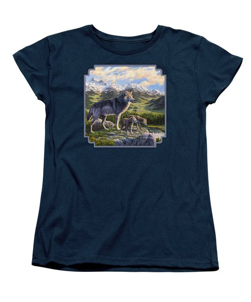 Wolf Painting - Passing It On Women's T-Shirt (Standard Cut) by Crista Forest