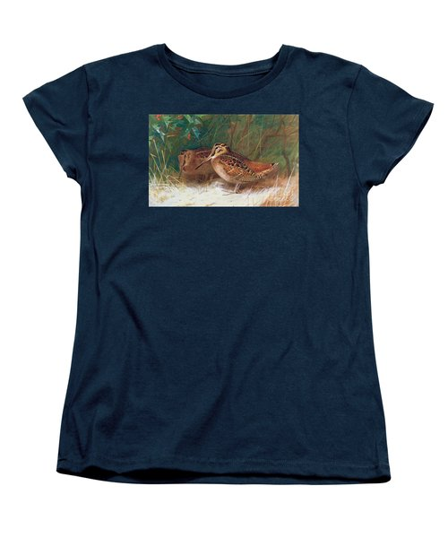 Woodcock In The Undergrowth Women's T-Shirt (Standard Cut) by Archibald Thorburn