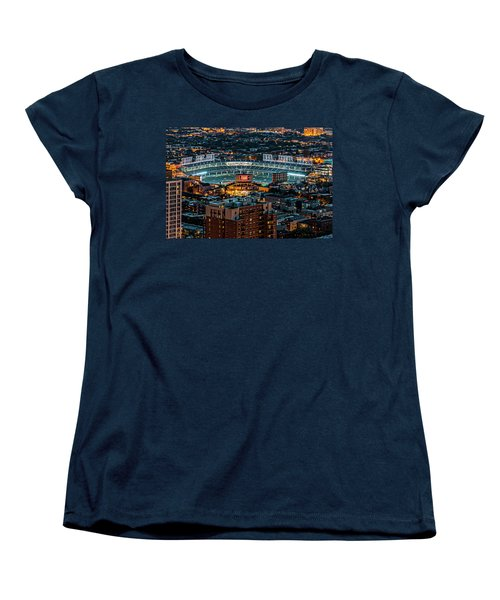Wrigley Field From Park Place Towers Dsc4678 Women's T-Shirt (Standard Cut) by Raymond Kunst