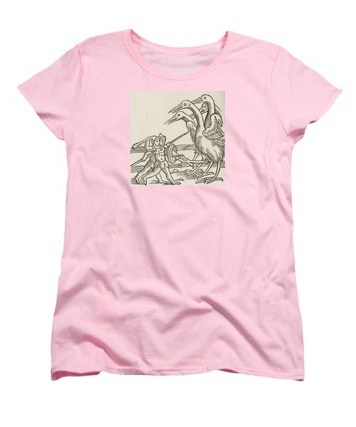 Fight Between Pygmies And Cranes. A Story From Greek Mythology Women's T-Shirt (Standard Cut) by English School