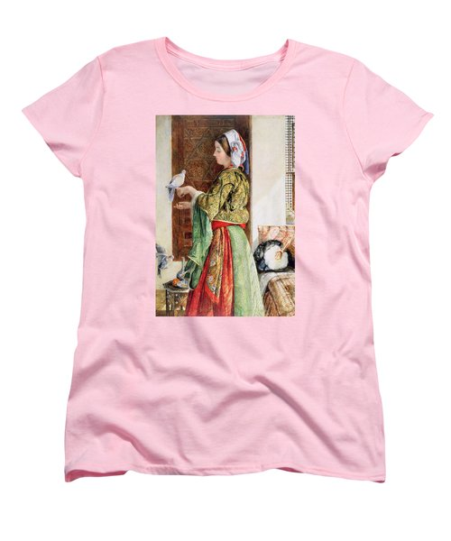 Girl With Two Caged Doves, Cairo, 1864 Women's T-Shirt (Standard Cut) by John Frederick Lewis