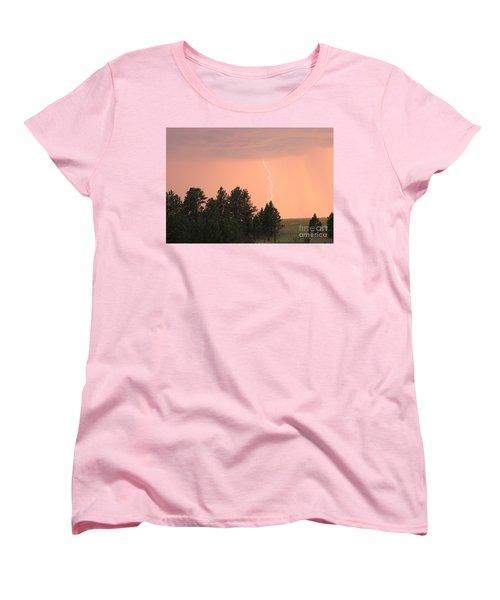 Women's T-Shirt (Standard Cut) featuring the photograph Lighting Strikes In Custer State Park by Bill Gabbert
