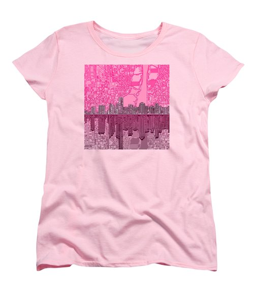 Miami Skyline Abstract 4 Women's T-Shirt (Standard Cut) by Bekim Art