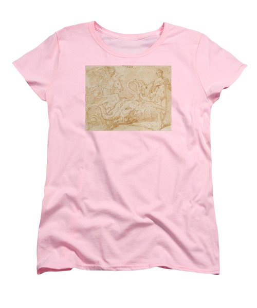 Perseus Rescuing Andromeda Red Chalk On Paper Women's T-Shirt (Standard Cut) by or Zuccaro, Federico Zuccari