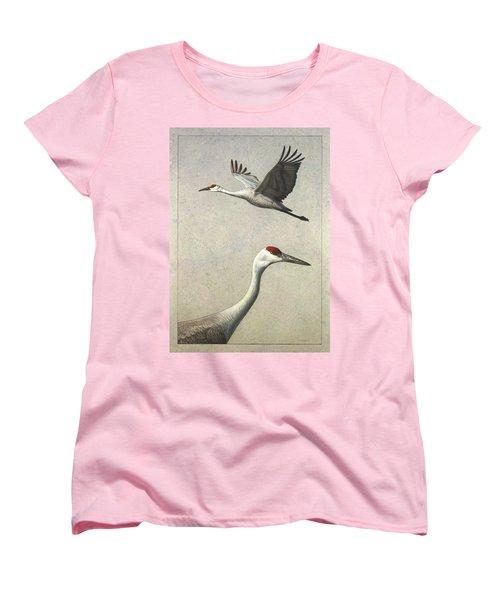 Sandhill Cranes Women's T-Shirt (Standard Cut) by James W Johnson