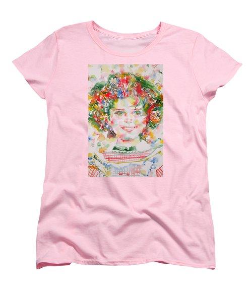 Shirley Temple - Watercolor Portrait.1 Women's T-Shirt (Standard Cut) by Fabrizio Cassetta