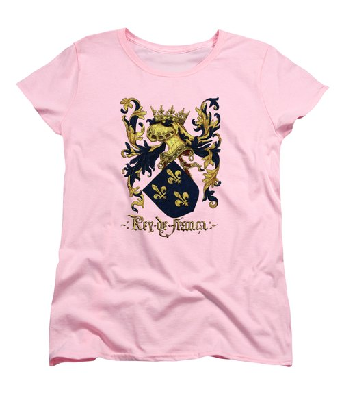 King Of France Coat Of Arms - Livro Do Armeiro-mor  Women's T-Shirt (Standard Cut) by Serge Averbukh