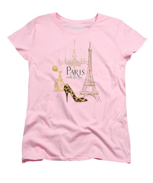 Paris - Ooh La La Fashion Eiffel Tower Chandelier Perfume Bottle Women's T-Shirt (Standard Cut) by Audrey Jeanne Roberts