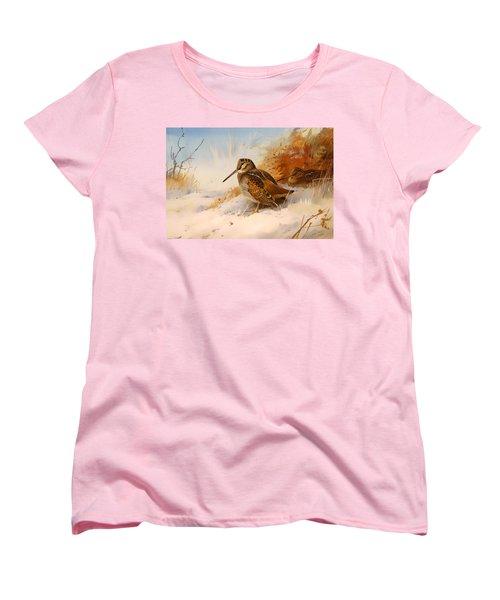 Winter Woodcock Women's T-Shirt (Standard Cut) by Mountain Dreams