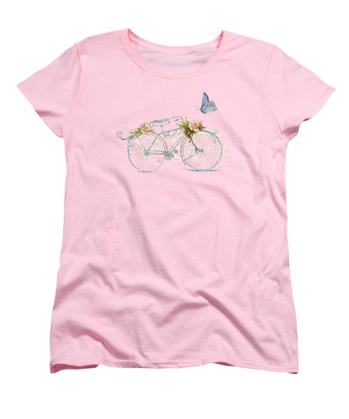 Summer At Cape May - Bicycle Women's T-Shirt (Standard Cut) by Audrey Jeanne Roberts