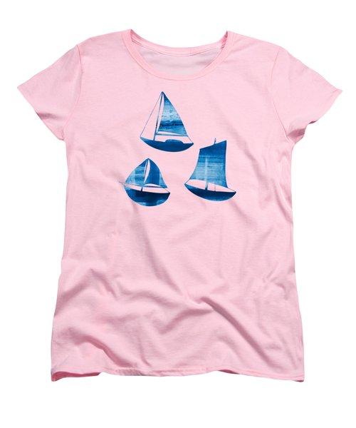 3 Little Blue Sailing Boats Women's T-Shirt (Standard Cut) by Frank Tschakert