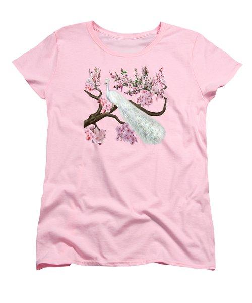 Cherry Blossom Peacock Women's T-Shirt (Standard Cut) by Glenn Holbrook
