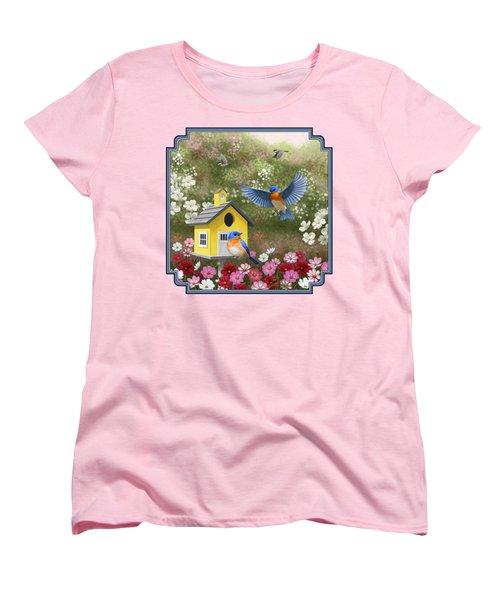 Bluebirds And Yellow Birdhouse Women's T-Shirt (Standard Cut) by Crista Forest