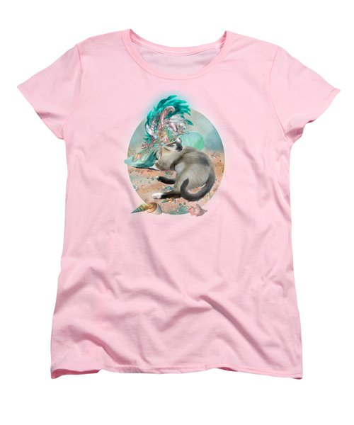 Cat In Summer Beach Hat Women's T-Shirt (Standard Cut) by Carol Cavalaris