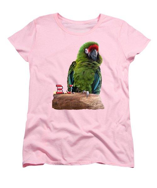 B. J., The Military Macaw Women's T-Shirt (Standard Cut) by Zazu's House Parrot Sanctuary