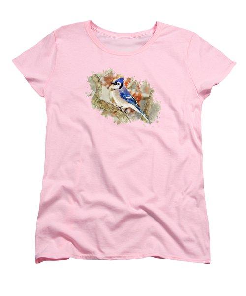 Beautiful Blue Jay - Watercolor Art Women's T-Shirt (Standard Cut) by Christina Rollo
