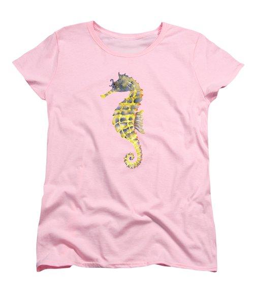 Blue Yellow Seahorse - Vertical Women's T-Shirt (Standard Cut) by Amy Kirkpatrick