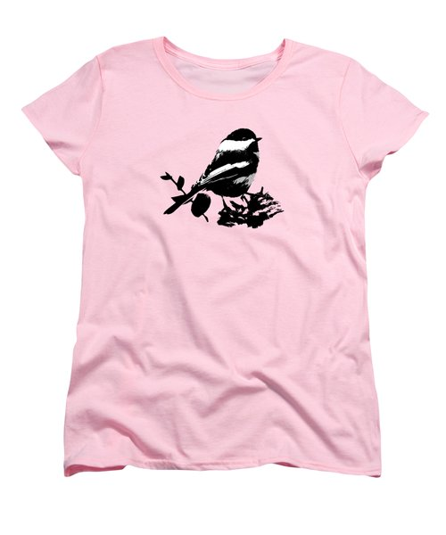 Chickadee Bird Pattern Women's T-Shirt (Standard Cut) by Christina Rollo