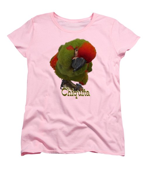 Chiquita, A Red-front Macaw Women's T-Shirt (Standard Cut) by Zazu's House Parrot Sanctuary
