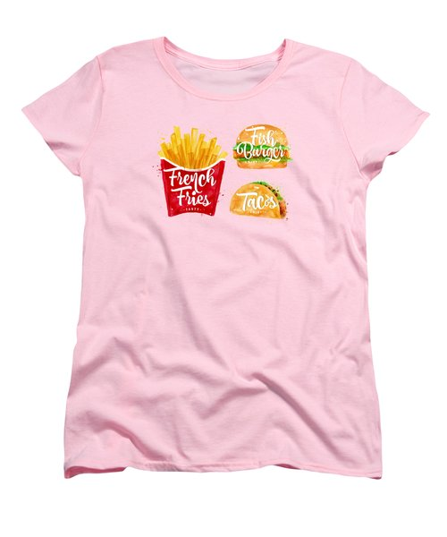 Color French Fries Women's T-Shirt (Standard Cut) by Aloke Design