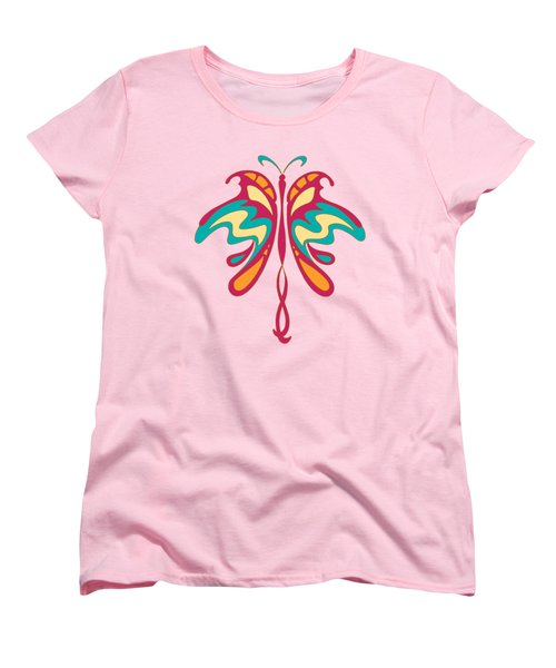 Colourful Art Nouveau Butterfly Women's T-Shirt (Standard Cut) by Heidi De Leeuw