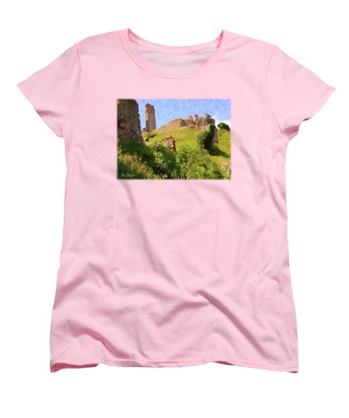 Corfe Castle Women's T-Shirt (Standard Cut) by Jon Delorme