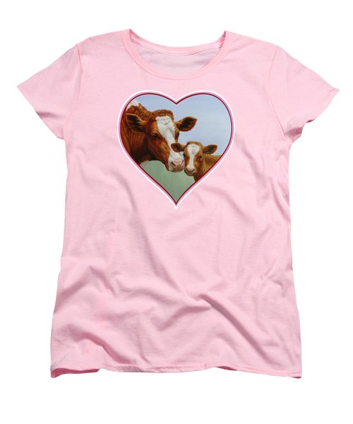 Cow And Calf Pink Heart Women's T-Shirt (Standard Cut) by Crista Forest