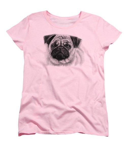 Cute Pug Women's T-Shirt (Standard Cut) by Olga Shvartsur