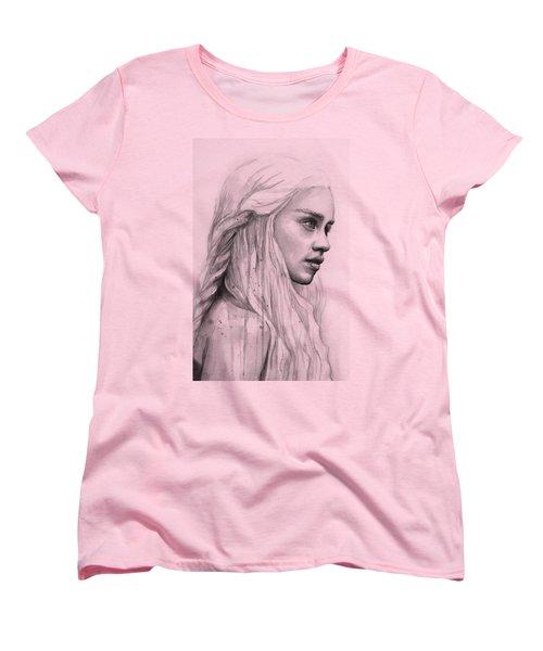 Daenerys Watercolor Portrait Women's T-Shirt (Standard Cut) by Olga Shvartsur