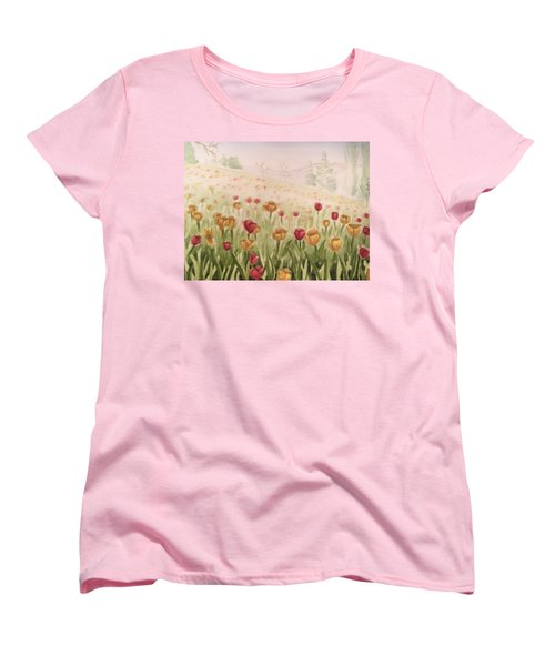 Field Of Tulips Women's T-Shirt (Standard Cut) by Kayla Jimenez