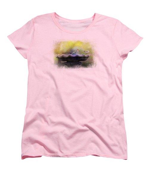 Finches On The Bird Bath Women's T-Shirt (Standard Cut) by Jai Johnson