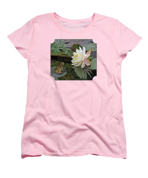 Frog In Awe Of White Water Lily Women's T-Shirt (Standard Cut) by Gill Billington