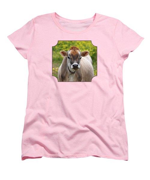 Funny Jersey Cow - Horizontal Women's T-Shirt (Standard Cut) by Gill Billington