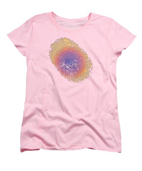 Giant Iridescent Fingerprint On Salmon Roe Pink Set Of 4 - 2 Of 4 Women's T-Shirt (Standard Cut) by Serge Averbukh