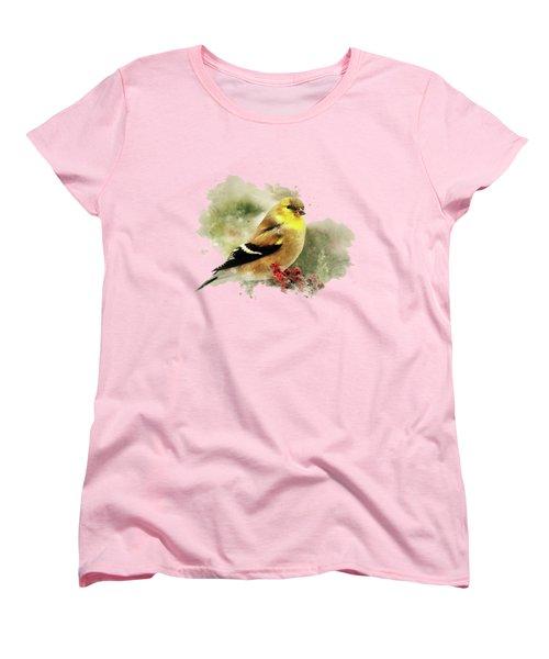 Goldfinch Watercolor Art Women's T-Shirt (Standard Cut) by Christina Rollo