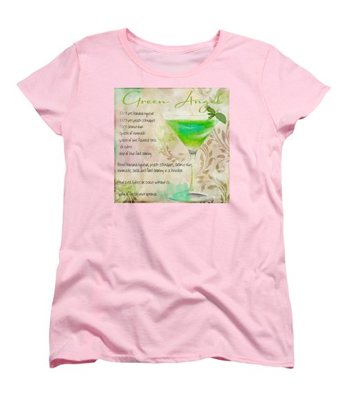 Green Angel Mixed Cocktail Recipe Sign Women's T-Shirt (Standard Cut) by Mindy Sommers