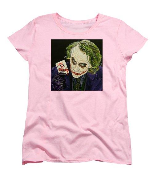Heath Ledger The Joker Women's T-Shirt (Standard Cut) by David Peninger