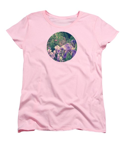 Irises And Roses In The Garden Women's T-Shirt (Standard Cut) by Mary Wolf