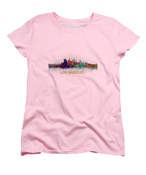 Los Angeles City Skyline Hq V4 Women's T-Shirt (Standard Cut) by HQ Photo