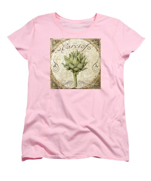Mangia Carciofo Artichoke Women's T-Shirt (Standard Cut) by Mindy Sommers
