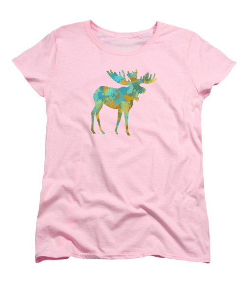 Moose Watercolor Art Women's T-Shirt (Standard Cut) by Christina Rollo