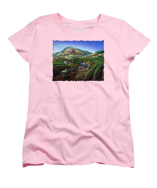 Old Wine Country Landscape - Delivering Grapes To Winery - Vintage Americana Women's T-Shirt (Standard Cut) by Walt Curlee