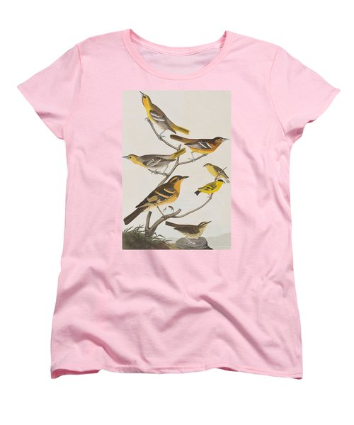Orioles Thrushes And Goldfinches Women's T-Shirt (Standard Cut) by John James Audubon