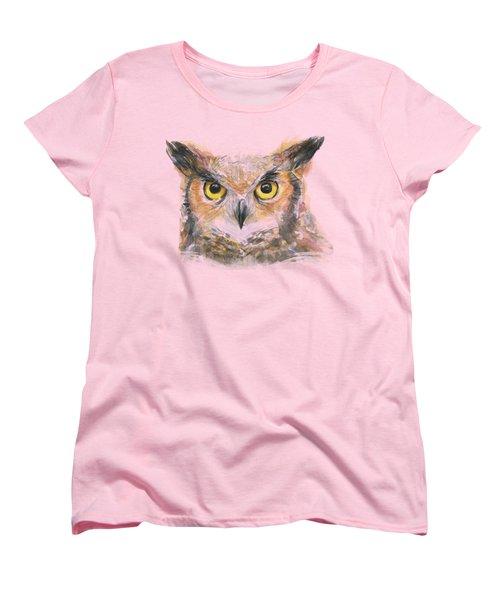 Owl Watercolor Portrait Great Horned Women's T-Shirt (Standard Cut) by Olga Shvartsur