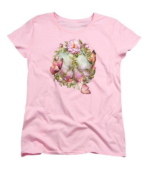Peace Rose Women's T-Shirt (Standard Cut) by Carol Cavalaris