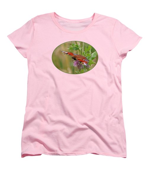 Peacock Butterfly On Thistle Women's T-Shirt (Standard Cut) by Gill Billington