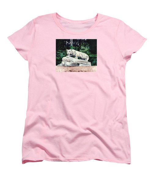Penn State Nittany Lion Shrine University Happy Valley Joe Paterno Women's T-Shirt (Standard Cut) by Laura Row